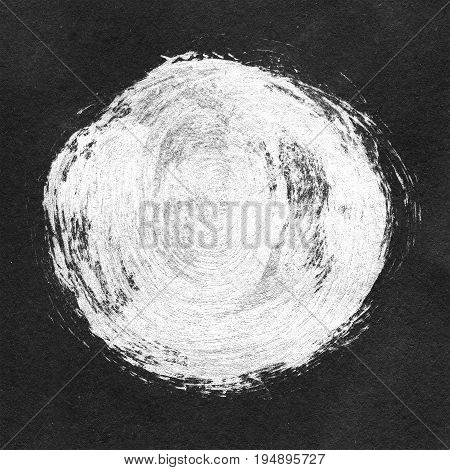 Acrylic Circle On Black Textured Background. White Round Uneven Shape For Text. Element For Differen