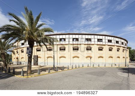 Lorca Spain - May 29 2017: Historic bullfight arena in the city of Lorca. Province of Murcia Spain