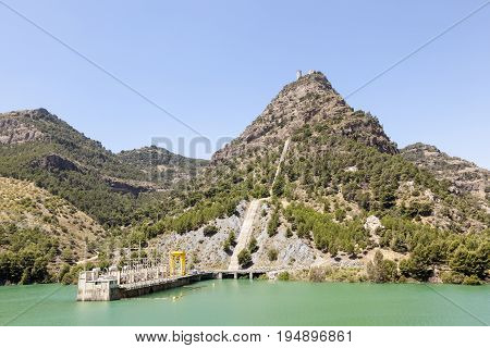 Water reservoir of the hydroelectric plant El Chorro near town Alora. Malaga Province Spain
