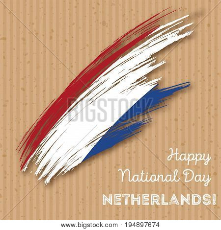 Netherlands Independence Day Patriotic Design. Expressive Brush Stroke In National Flag Colors On Kr