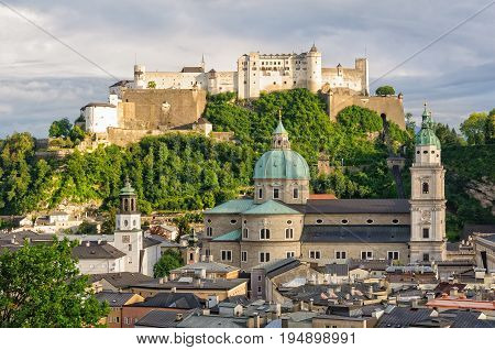 View of the Cathedral (Dom) and Fortress (Festung) Hohensalzburg from the Capuchin Monastery (Kapuzinerkloster) - Salzburg, Austria