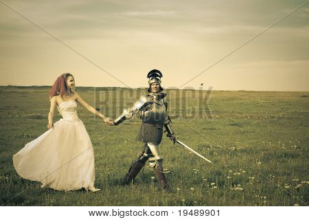 Princess Bride and her knight / wedding / retro style toned poster
