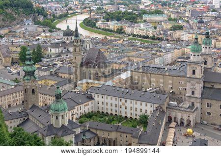 The UNESCO World Heritage historic centre from the Hohensalzburg Castle - Salzburg, Austria