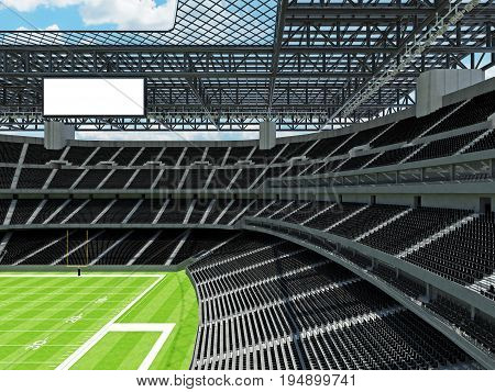 Modern American Football Stadium With Black Seats
