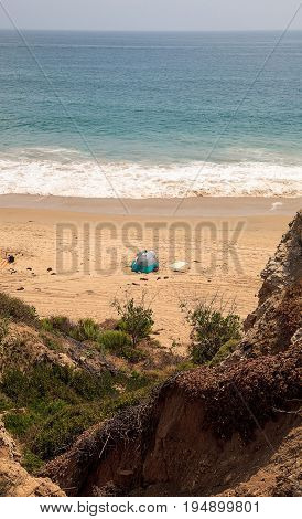 Tent At The Farthest South End Of Crystal Cove Beach