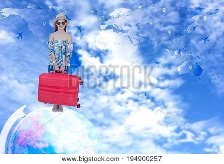 Tourist woman travelling and check in citizenship air on the around world. Travel Concept.