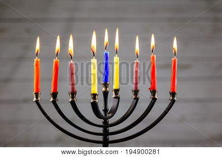 Hanukkah menorah with candles Hanukkah candles happy burning