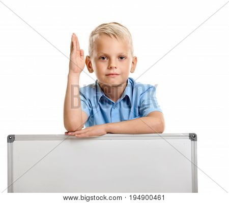 Portrait of cute schoolboy holding raised hand on whiteboard