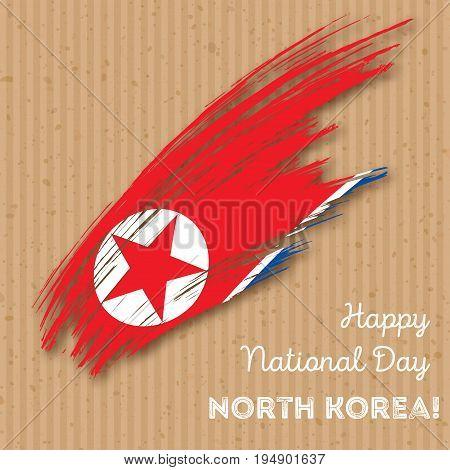 North Korea Independence Day Patriotic Design. Expressive Brush Stroke In National Flag Colors On Kr