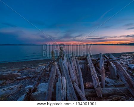 Sunset on the rocky beach in Sidney Vancouver Island British Columbia Canada