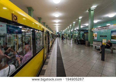 BERLIN - JULY 09 2017: Alexanderplatz Underground Station. The train is ready for departure.