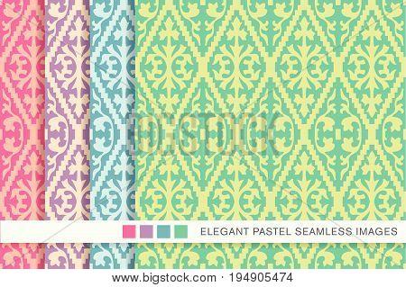 Elegant Seamless Pastel Background Set Jagged Check Spiral