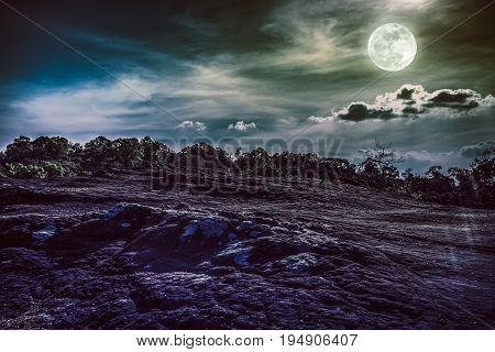 Landscape Of Night Sky With Full Moon,  Serenity Nature Background.