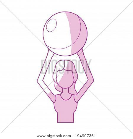 silhouete healthy woman doing exercise with ball vector illustration