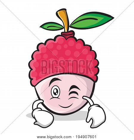 Wink face lychee cartoon character style vector illustration