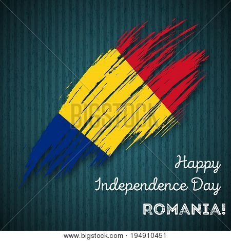 Romania Independence Day Patriotic Design. Expressive Brush Stroke In National Flag Colors On Dark S