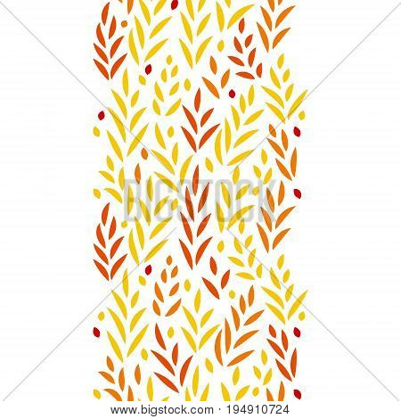 Subtle golden yellow and red leaves floral vertical seamless border on white, vector background