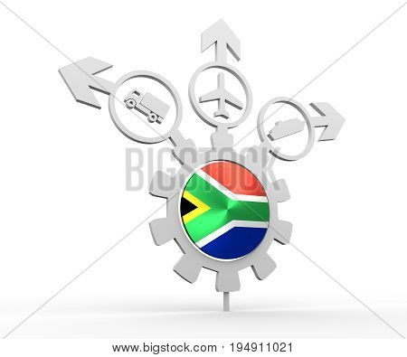Delivery emblem design. Truck, airplane and ferry boat icons on destination arrows. Flag of the South Africa in the center of gear. 3D rendering