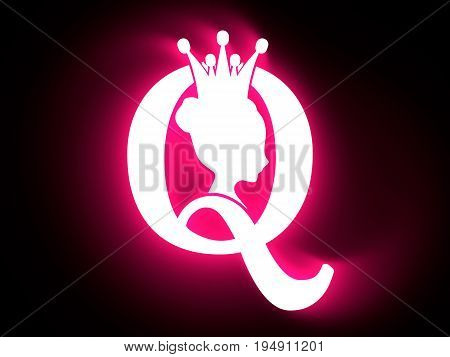 Vintage queen silhouette. Medieval queen profile. Elegant silhouette of a female head. Bun hairstyle. Royal emblem with Q letter. 3D rendering. Neon bulb illumination
