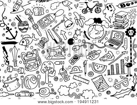 Hand drawing Doodle element seamless background doodle .Vector hand drawn illustration.