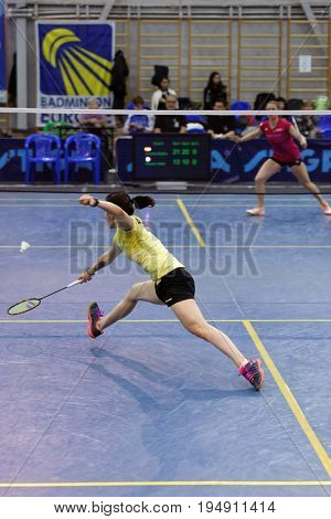 ST. PETERSBURG, RUSSIA - JULY 7, 2017: Beatriz Corrales of Spain (in front) vs Yaelle Hoyaux of France in 3rd day of badminton tournament White Nights. Corrales won 2-0