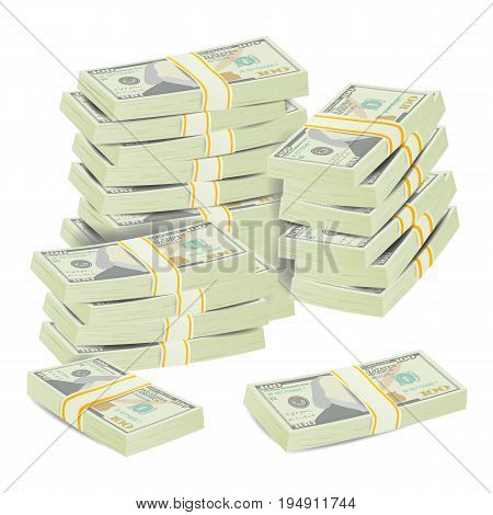 Realistic Dollar Stacks Vector. Banknotes. Money Bill Isolated Illustration.