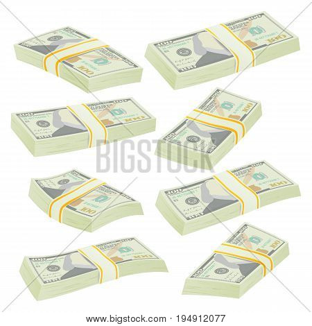 Money Stacks Vector. Realistic Concept. 3D Dollar Banknotes. Cash Symbol. Money Bill Isolated Illustration.