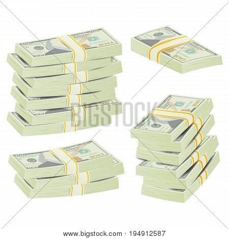 Dollar Stacks Vector. Money Banknotes. Cash Symbol. Money Bill Isolated Illustration.