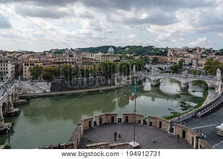 Rome Italy - August 18 2016: View of Rome from Castel Sant Angelo a cloudy day of summer