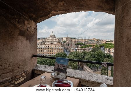 Rome Italy - August 18 2016: Framed view of Vatican City and st Peters dome Castel Sant Angelo a cloudy day of summer