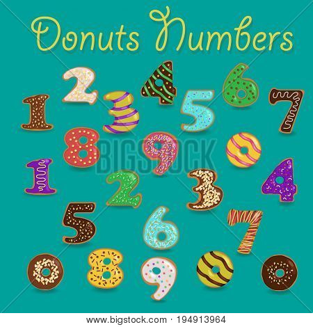 Sweet Donuts Numbers. Colorful Numerals with cream and nuts decor. Illustration