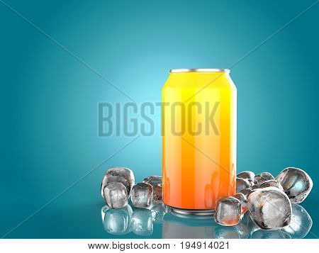 Close Up of Soft Drink Can With Ice. On isolated Blue Background. 3d Illustration.