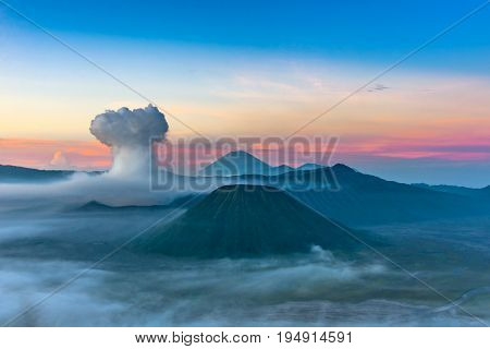 Mount Bromo Volcano (gunung Bromo) In Bromo Tengger Semeru National Park, East Java, Indonesia