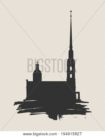 Peter and Paul fortress in Saint Petersburg, Russia. Simple silhouette on grunge brush.