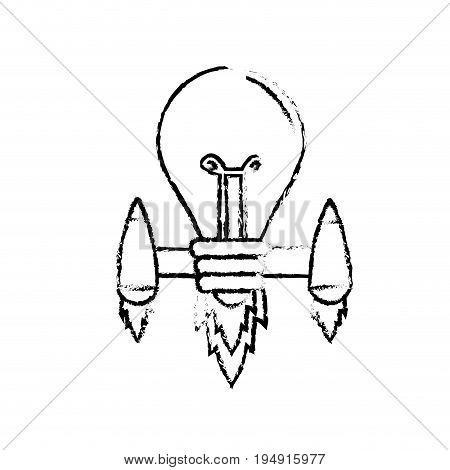 figure bulb with thrusters to creative idea vector illustration