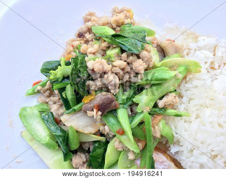 Stir Fried Chinese Kale Sprout With Crispy Pork In White Plate On White Background. Thai Food