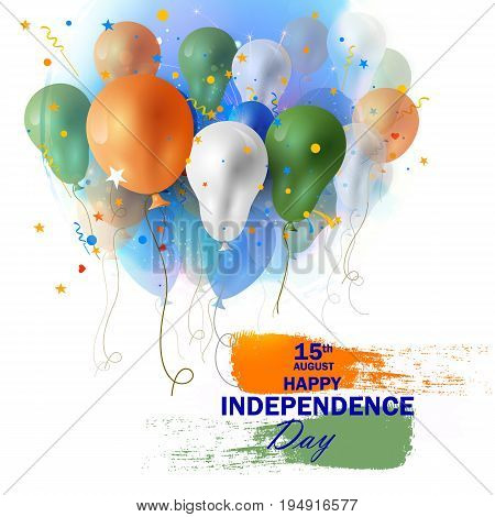 easy to edit vector illustration of Tricolor balloon flying on Indian Background