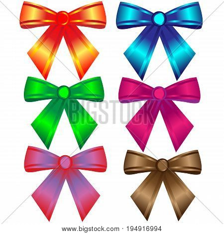 Set of six colorful bows; Red bow; blue; bow; green bow; pink bow; brown bow; pop art bow