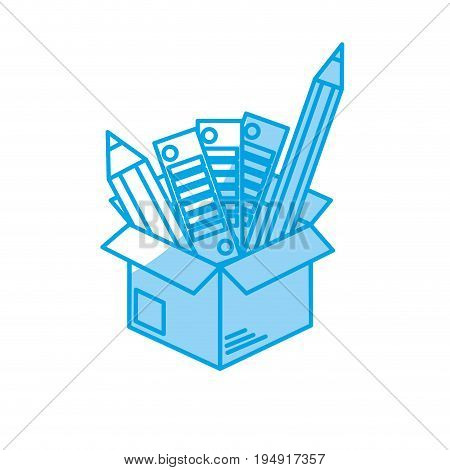 silhouette box with pencils and palettes inside vector illustration