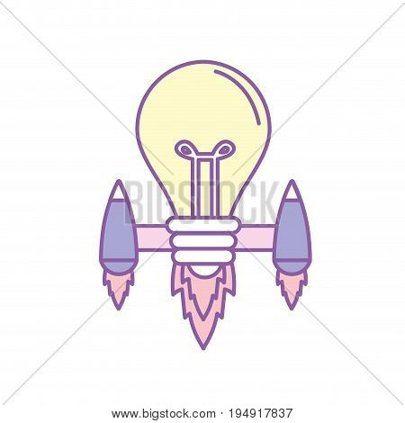 bulb with thrusters to creative idea vector illustration