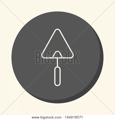 Trowel for brickwork vector round line icon with the illusion of volume simple discoloration