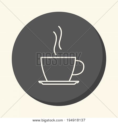 A cup with a hot drink on a saucer a vector circular line icon with an illusion of volume a simple color change