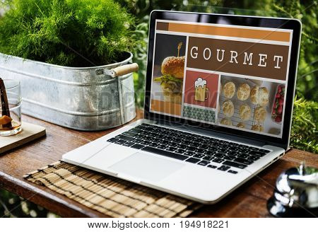Device Showing Gourmet Food Recipe Cuisine Word Graphic