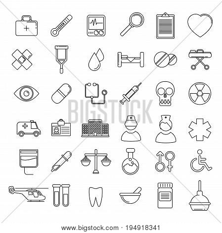 Vector Medical Icons Set. Line vector set