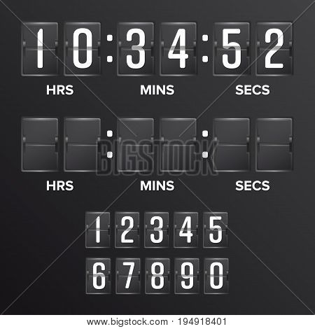 Flip Countdown Timer Vector. Analog Black Scoreboard Digital Timer Blank. Hours, Minutes, Seconds. Time