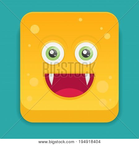 Cartoon monster in flat style icon for design