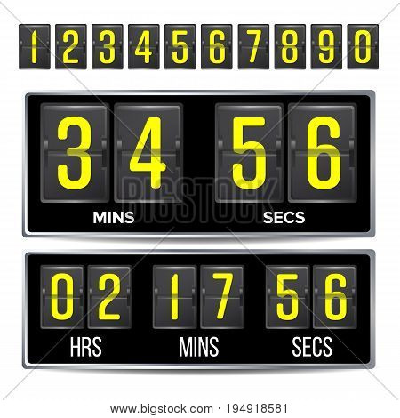 Flip Countdown Timer Vector. Black Flip Scoreboard Digital Timer Template. Hours, Minutes, Seconds. Isolated