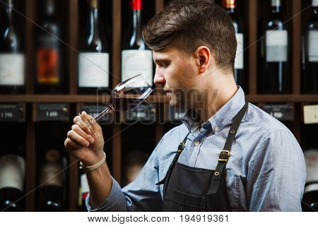 Sommelier smelling flavor of red wine in bokal on background of shelves with bottles in cellar. Male appreciating color, quality and sediments of drink. Professional degustation expert in winemaking.