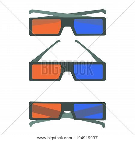 Flat colorful vector set of black 3d cinema glasses icons. 3d cinema glasses with red and blue lens and gray frame. Cartoon movie glasses for design logotype banners prints