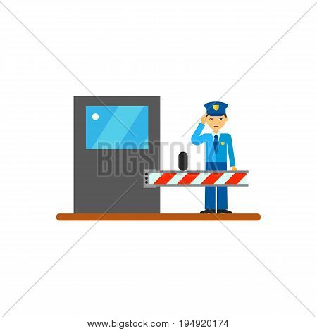 Icon of security guard at work. Officer, protective agent, barrier, boom gate. Security concept. Can be used for topics like profession, protecting organizations assets or security service